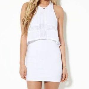 AEO White Bodycon Tank Dress, Lace & Mesh Overlay